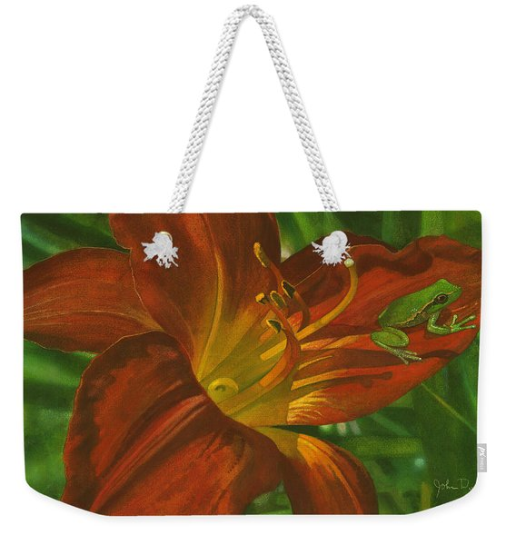 A Frog On A Lily Weekender Tote Bag