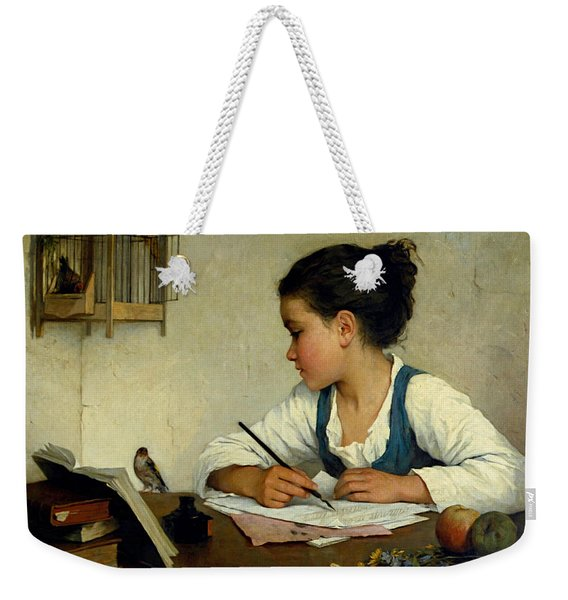 A Girl Writing. The Pet Goldfinch Weekender Tote Bag
