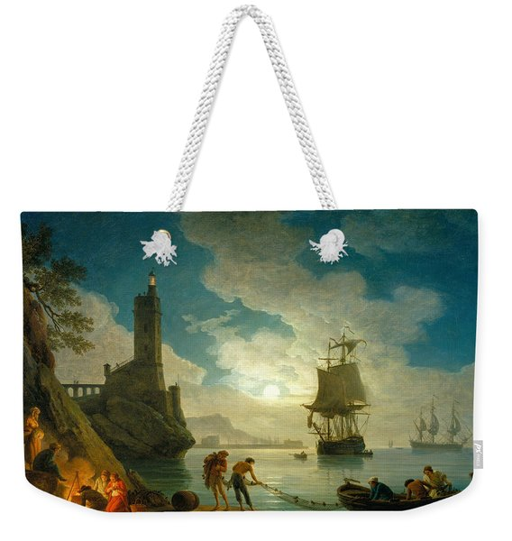 A Harbor In Moonlight Weekender Tote Bag