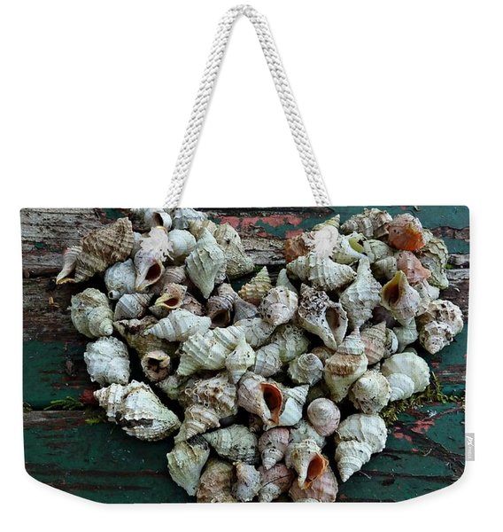 Weekender Tote Bag featuring the photograph A Heart Made Of Shells by Patricia Strand
