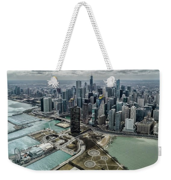 A Helicopter View Of Chicago's Lakefront Weekender Tote Bag