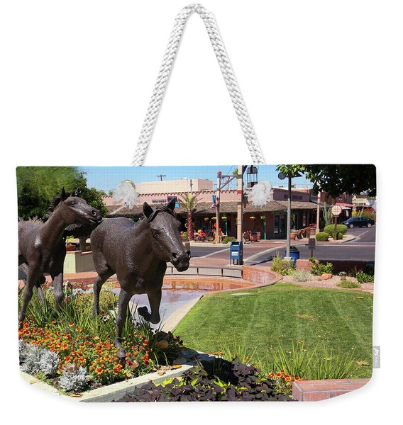 A Horse Sculpture And Old Town Boutiques, Scottsdale, Arizona Weekender Tote Bag