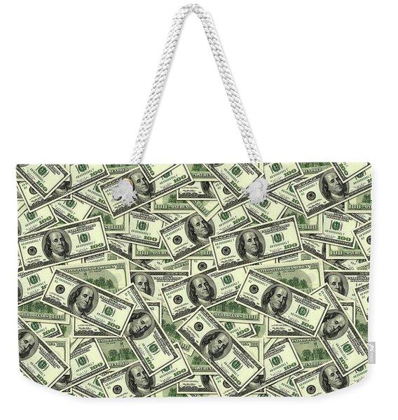 A Hundred Dollar Bill Banknotes Weekender Tote Bag