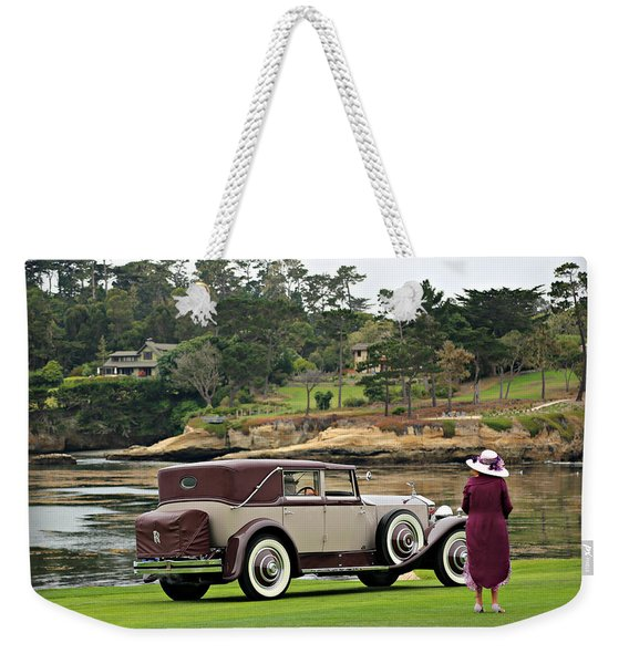 A Lady And Her Town Car Weekender Tote Bag