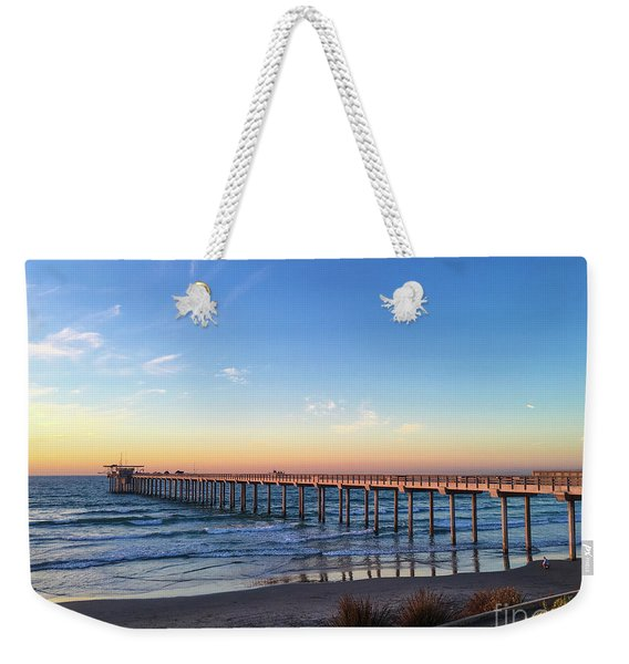 A Long Look At Scripps Pier At Sunset Weekender Tote Bag