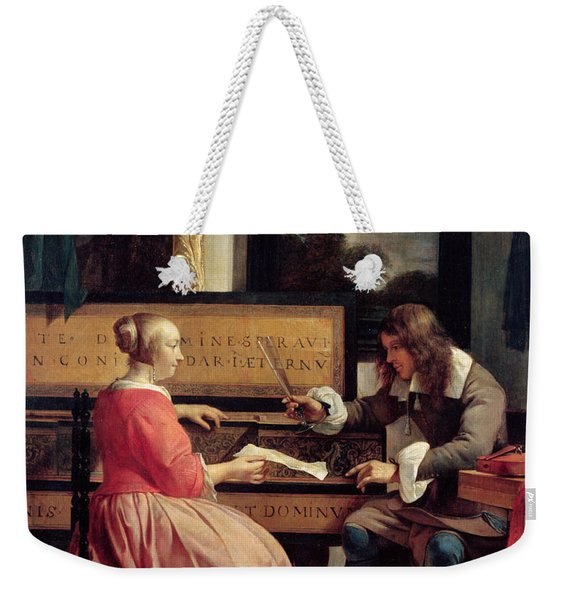 A Man And A Woman Seated By A Virginal Weekender Tote Bag