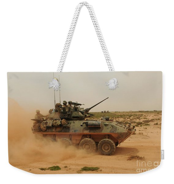 A Marine Corps Light Armored Vehicle Weekender Tote Bag