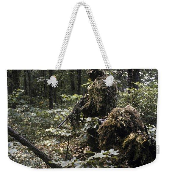 A Marine Sniper Team Wearing Camouflage Weekender Tote Bag
