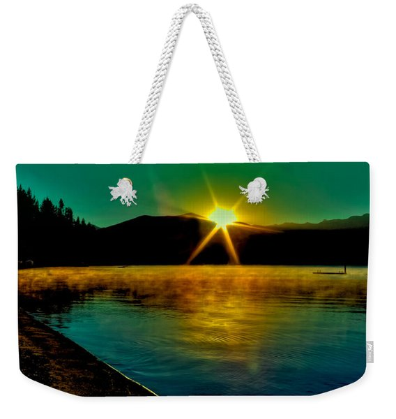 A Misty Sunrise On Priest Lake Weekender Tote Bag