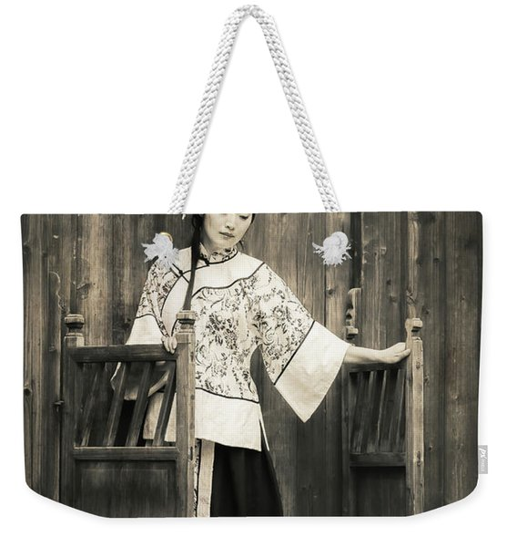 A Model In A Period Costume. Weekender Tote Bag