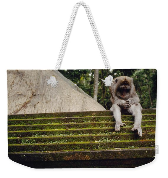 A Monkey Sits Contemplatively Weekender Tote Bag
