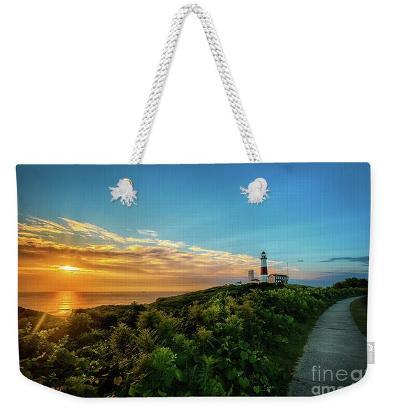 A Montauk Lighthouse Sunrise Weekender Tote Bag