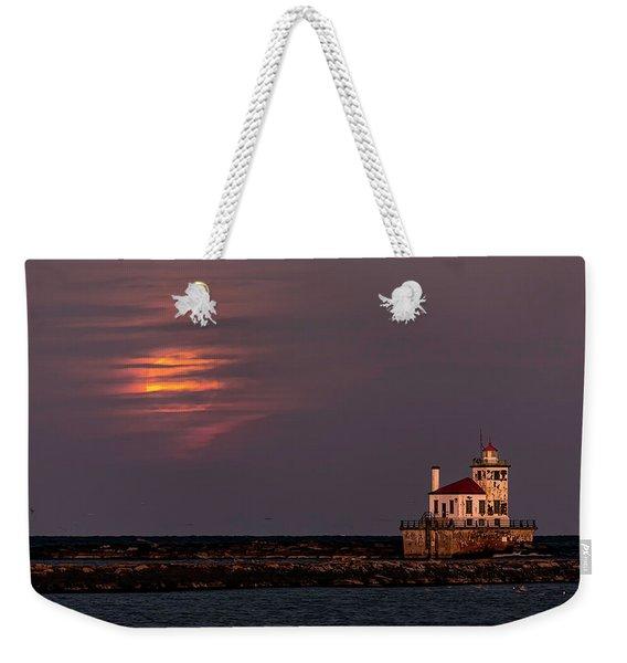 A Moonsetting Sunrise Weekender Tote Bag