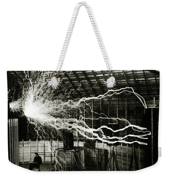 A Multiple Exposure Picture Of Tesla With His Magnifying Transmitter Weekender Tote Bag