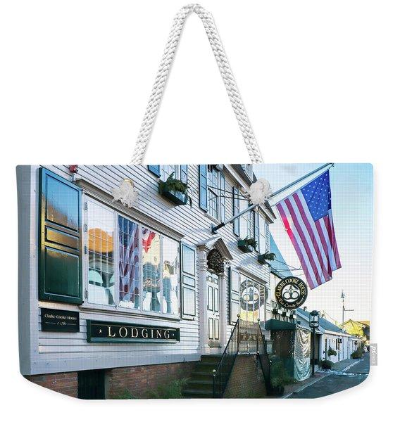 Weekender Tote Bag featuring the photograph A Newport Wharf by Nancy De Flon
