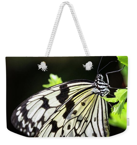 A Paper Kite Butterfly On A Leaf  Weekender Tote Bag