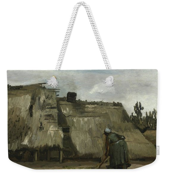 A Peasant Woman Digging In Front Of Her Cottage Weekender Tote Bag