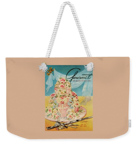 A Pink Wedding Cake And Ceremonial Silver Cutting Weekender Tote Bag