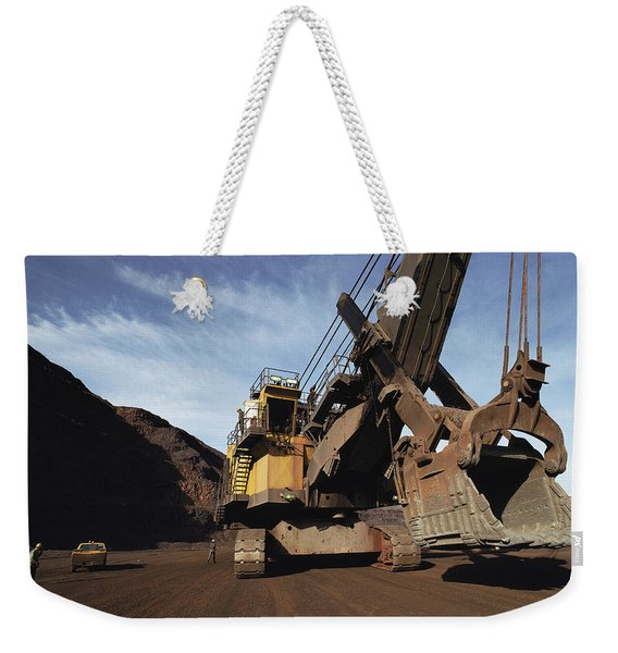 A Power Shovel Towers Over A Truck Weekender Tote Bag
