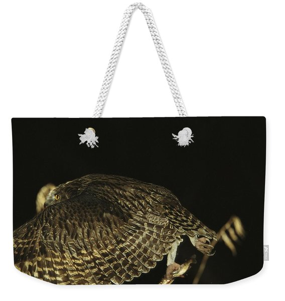 A Rare Blakistons Fish Owl In Flight Weekender Tote Bag