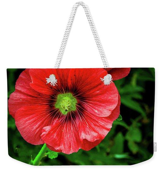 A Red Hollyhock Weekender Tote Bag