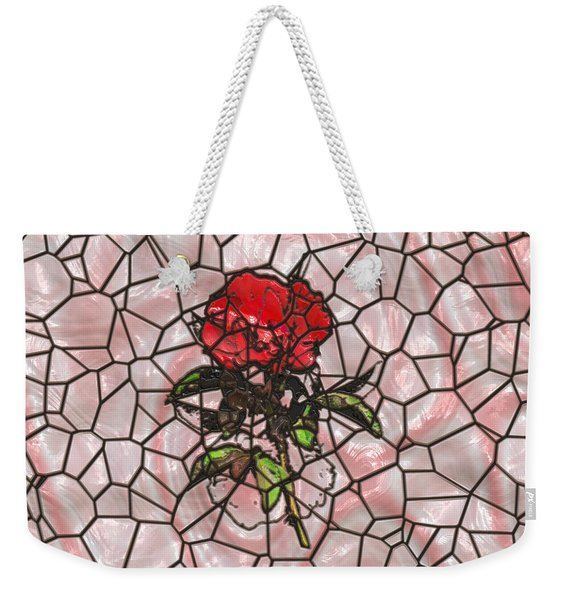 A Rose On Stained Glass Weekender Tote Bag