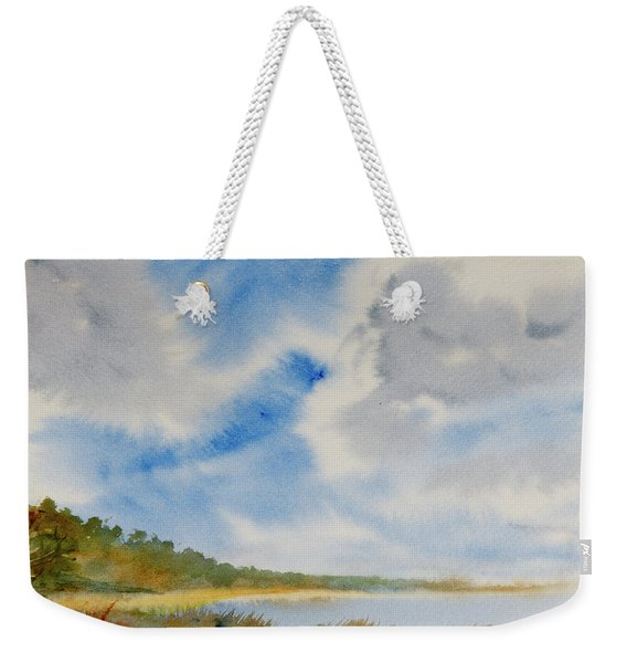A Secluded Inlet Beneath Billowing Clouds Weekender Tote Bag