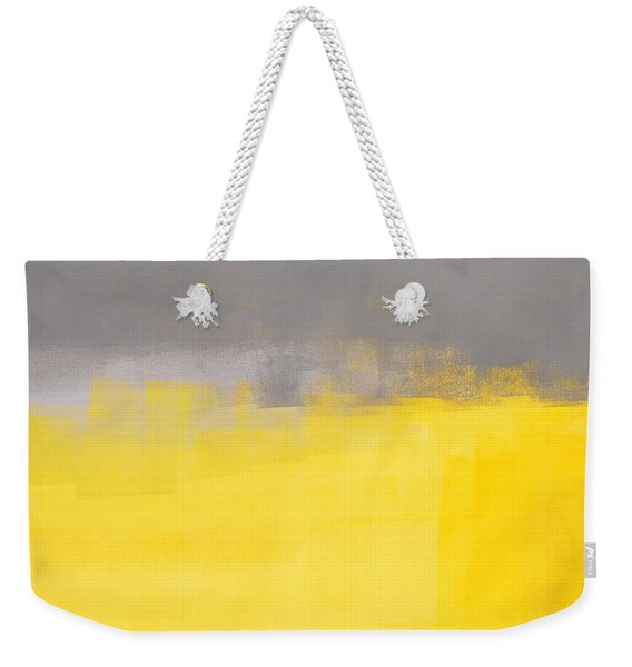 A Simple Abstract - Grey And Yellow Abstract Art Painting Weekender Tote Bag