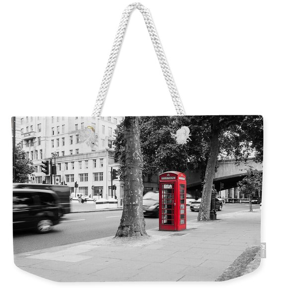 A Single Red Telephone Box On The Street Bw Weekender Tote Bag