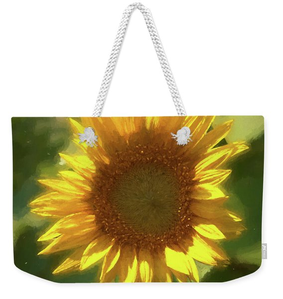 A Single Sunflower Showing It's Beautiful Yellow Color Weekender Tote Bag