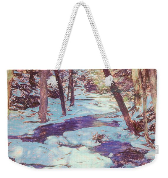 A Small Stream Meandering Through Winter Landscape. Weekender Tote Bag
