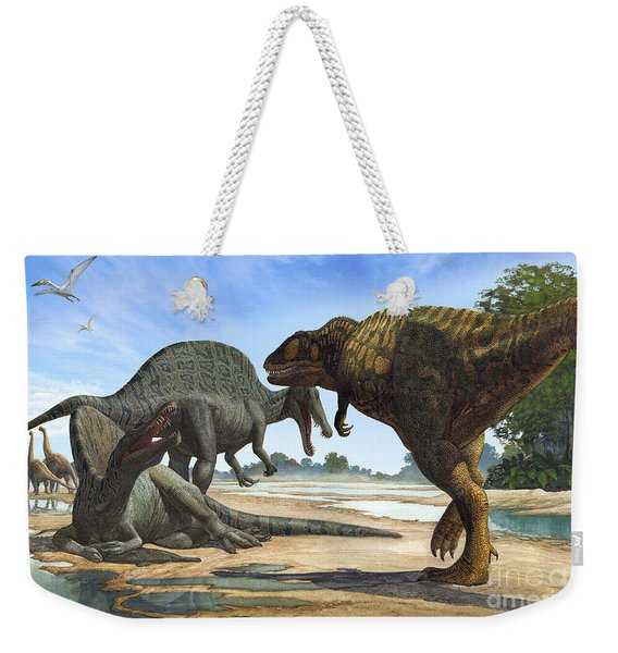 A Spinosaurus Blocks The Path Weekender Tote Bag