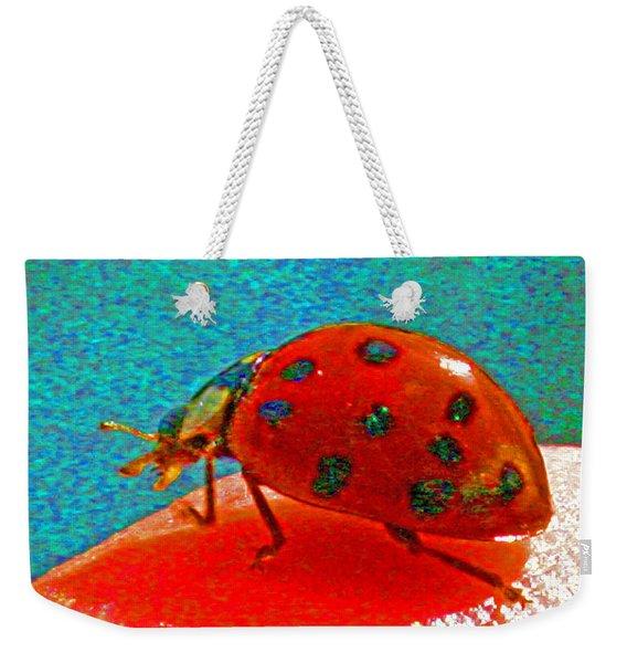 A Spring Lady Bug Weekender Tote Bag