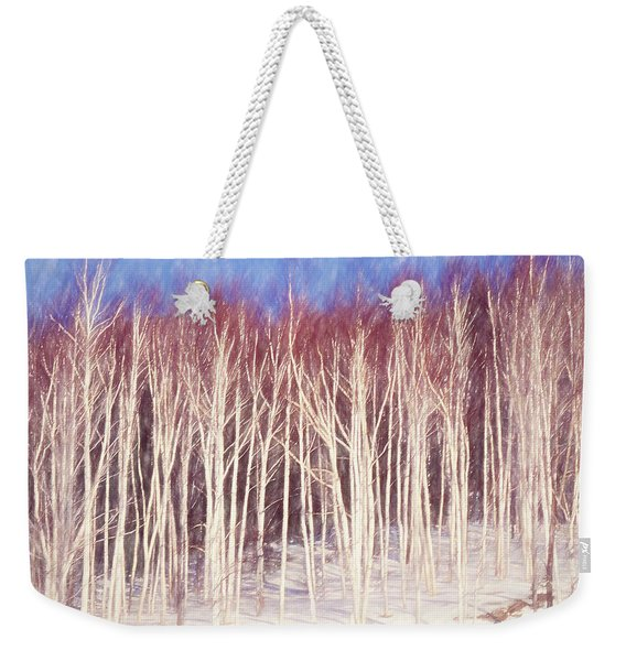 A Stand Of White Birch Trees In Winter. Weekender Tote Bag