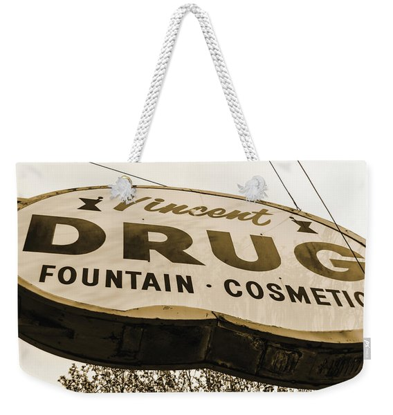 A Store For Everyone - Vintage Pharmacy Sign Weekender Tote Bag