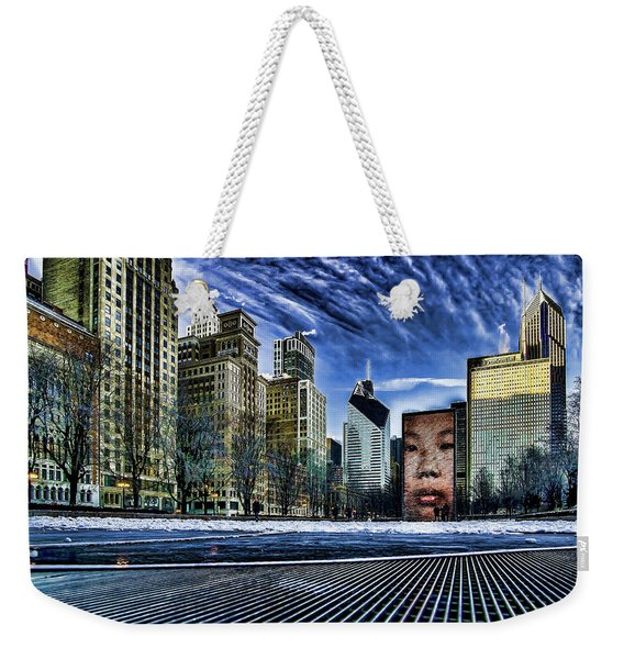 A Stylized Look At Chicago's Crown Fountain In The Winter Weekender Tote Bag