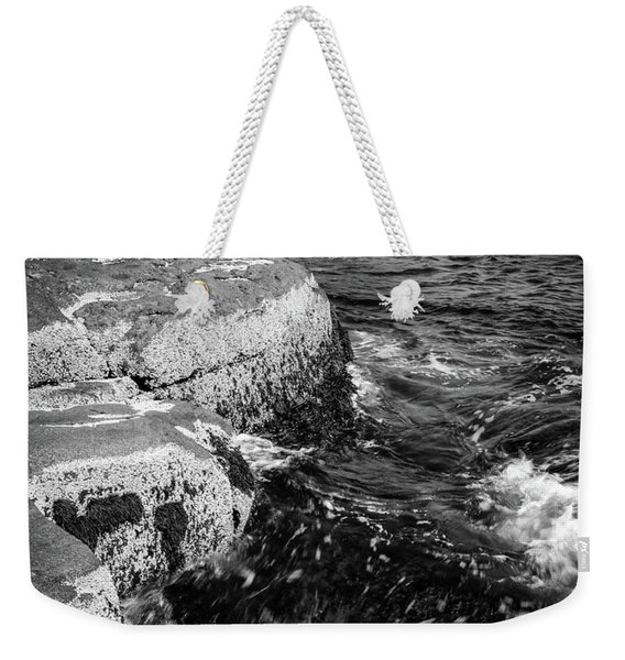 Weekender Tote Bag featuring the photograph A Summer's Day At Nubble Light, York, Maine  -67969-bw by John Bald