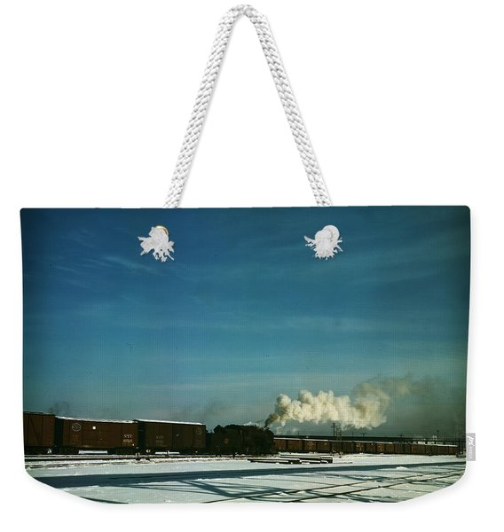 A Train Pulling Out Of The Freight House Weekender Tote Bag