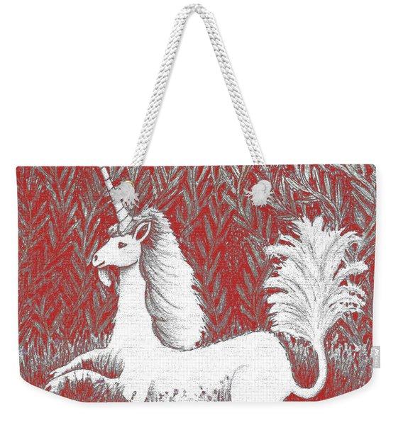 A Unicorn In Moonlight Tapestry Weekender Tote Bag