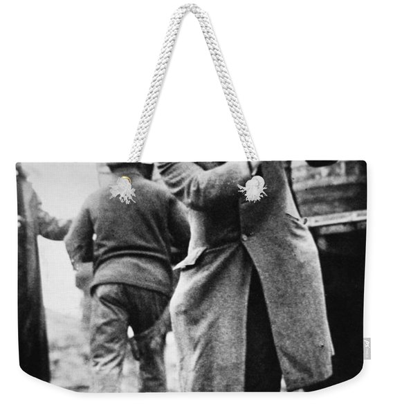 A Us Federal Agent Broaching A Beer Barrel From An Illegal Cargo During The American Prohibition Era Weekender Tote Bag