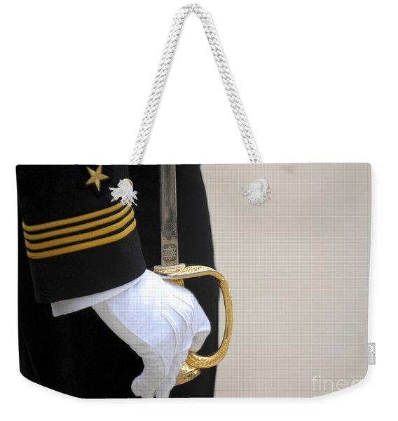 A U.s. Naval Academy Midshipman Stands Weekender Tote Bag