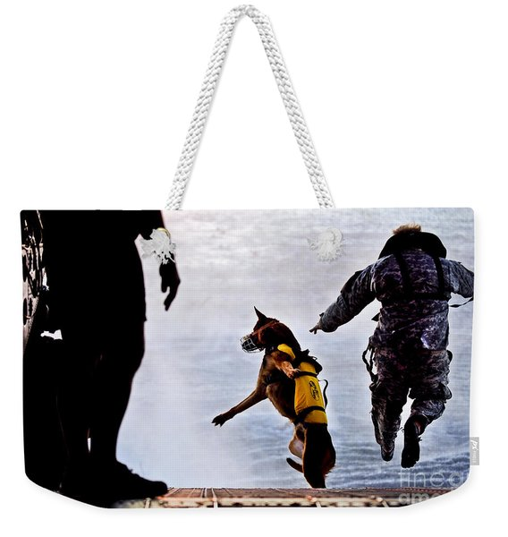 A U.s. Soldier And His Military Working Weekender Tote Bag