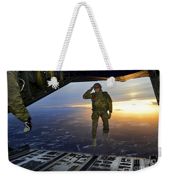 A U.s. Soldier Salutes His Fellow Weekender Tote Bag