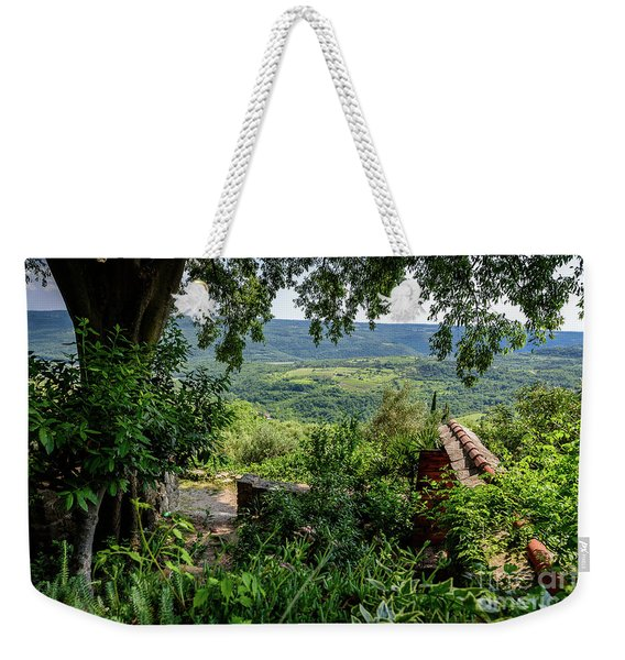 A View From Groznjan Of The Istrian Hill Town Countryside, Istria, Croatia Weekender Tote Bag