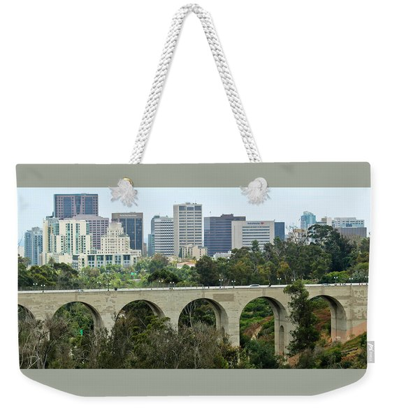 A View Of Cabrillo Bridge And Downtown San Diego, California Weekender Tote Bag