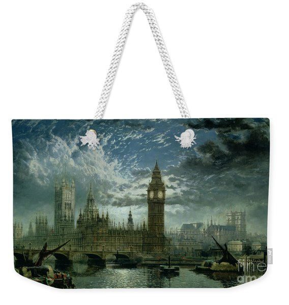 A View Of Westminster Abbey And The Houses Of Parliament Weekender Tote Bag