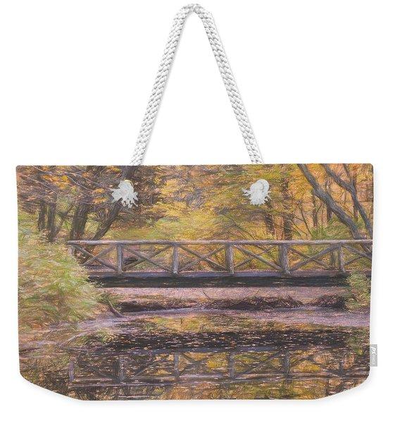 A Walking Bridge Reflection On Peaceful Flowing Water. Weekender Tote Bag