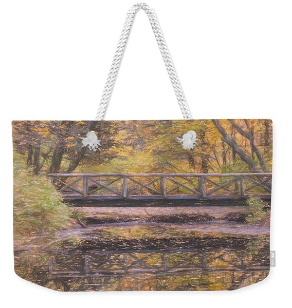 A Walking Bridge Reflection On Peaceful Flowing Water. Weekender Tote Bag