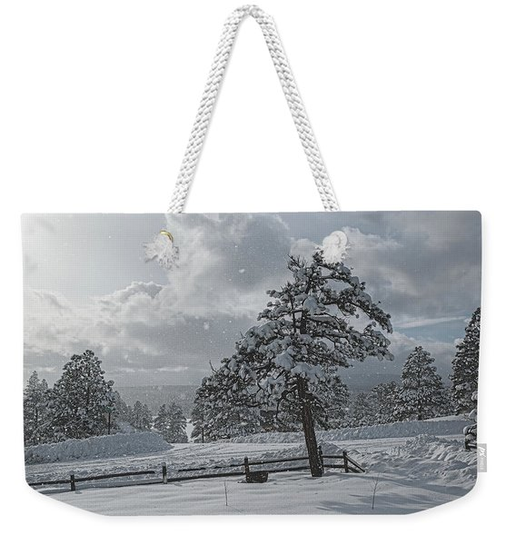 Weekender Tote Bag featuring the photograph A Winter Storm In Pagosa by Jason Coward