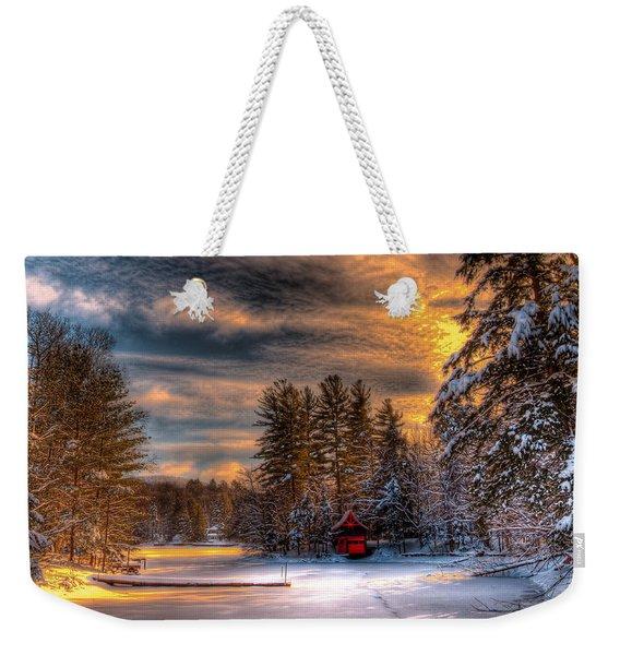 A Winter Sunset Weekender Tote Bag